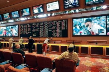 Sports betting counter in casino.