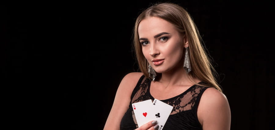 A woman with playing cards.