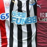 Three football shirts showing gambling company sponsorships.