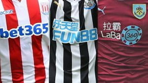 Three football shirts showing gambling company sponsorships.