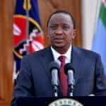 President Uhuru Kenyatta speaks at a press conference.