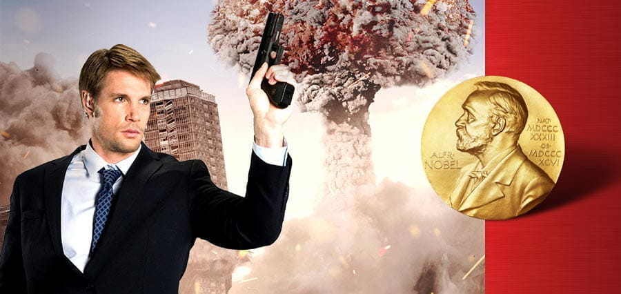 A man holding a gun, an explosion and a gold medal.
