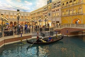 Gondolas outside The Venetian Hotel in Las Vegas.