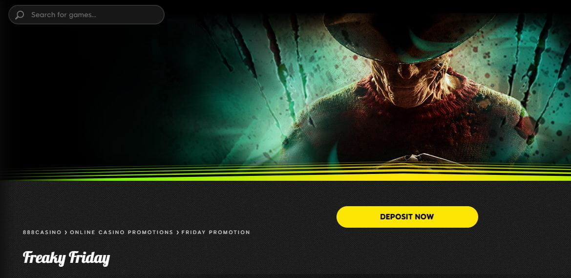 The Freaky Friday bonus landing page at 888casino, with Freddy Krueger.