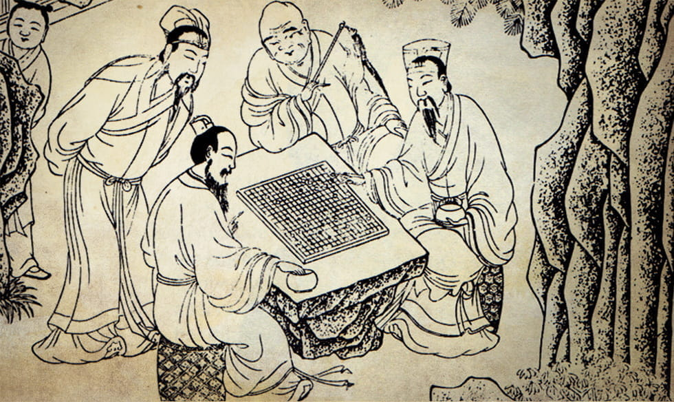 Illustration of an ancient Chinese board game.