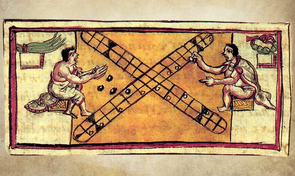 Drawing of two people playing patolli.
