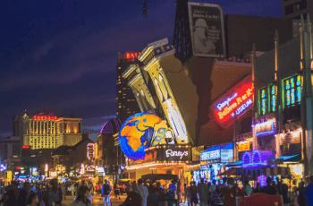 Atlantic City's attractions at night.