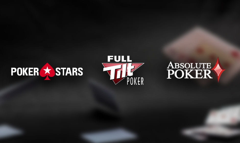 PokerStars, Full Tilt Poker and Absolute Poker logos.