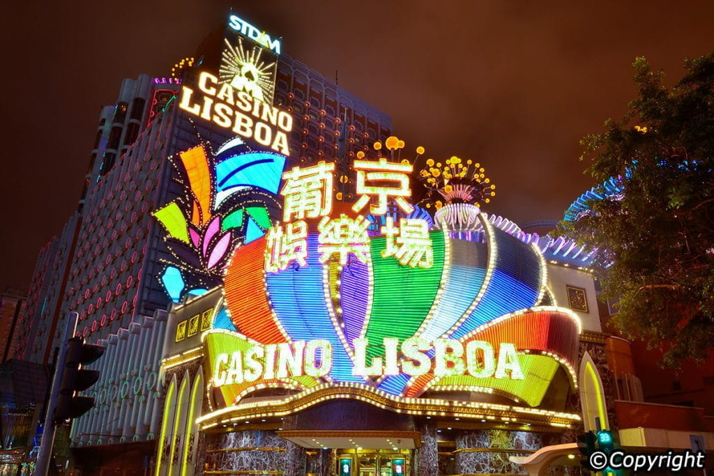 The neon lights of the Casino Lisboa, in Macau.