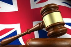A British flag and a gavel.