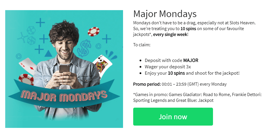 The Major Mondays free spins promotion at Slots Heaven