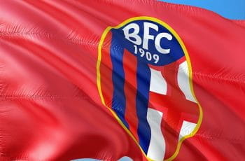 The Bologna F.C. logo printed on a red flag.