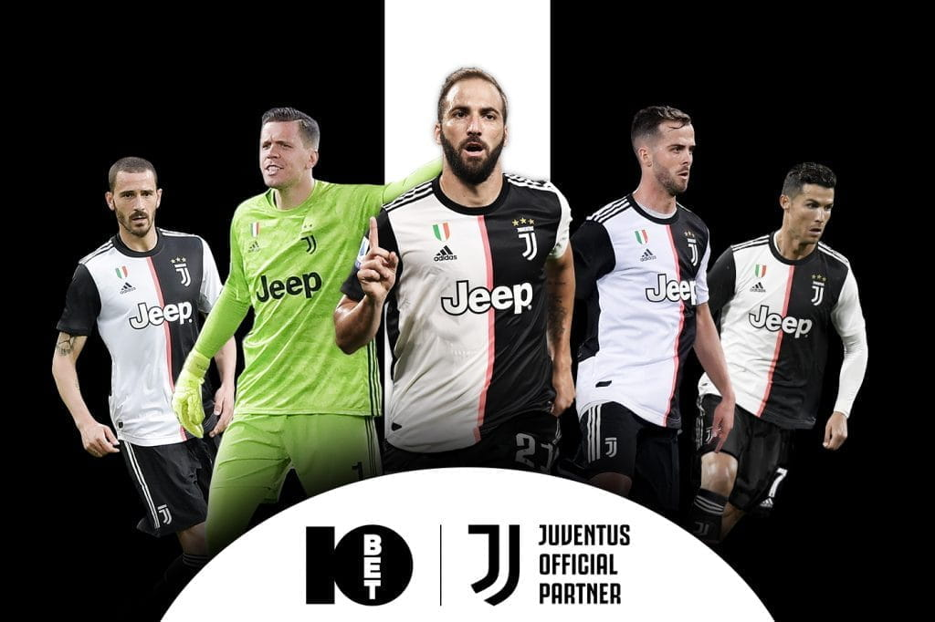 Key members of the Juventus team next to a confirmation of the partnership between 10Bet and Juventus.