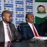 SportPesa CEO Ronald Karaurai with Kenyan Sports Principal Secretary Peter Kaberia and Football Kenya Federation Boss Nick Mwendwa.