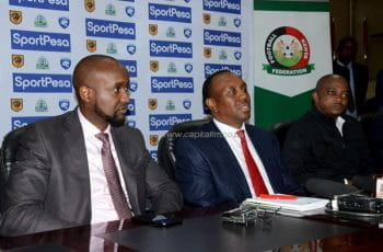 SportPesa CEO Ronald Karaurai with Kenyan Sports Principal Secretary Peter Kaberia and Football Kenya Federation Boss Nick Mwendwa.