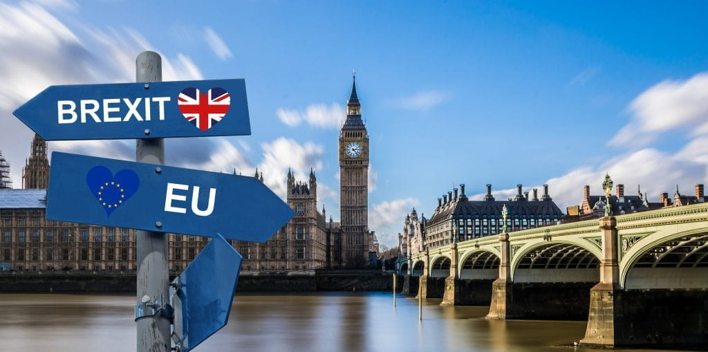 Signposts pointing to Brexit and the EU over a backdrop of Westminster Bridge and the Palace of Westminster.