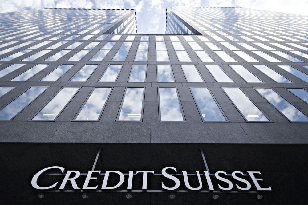 The front of a Credit Suisse building.