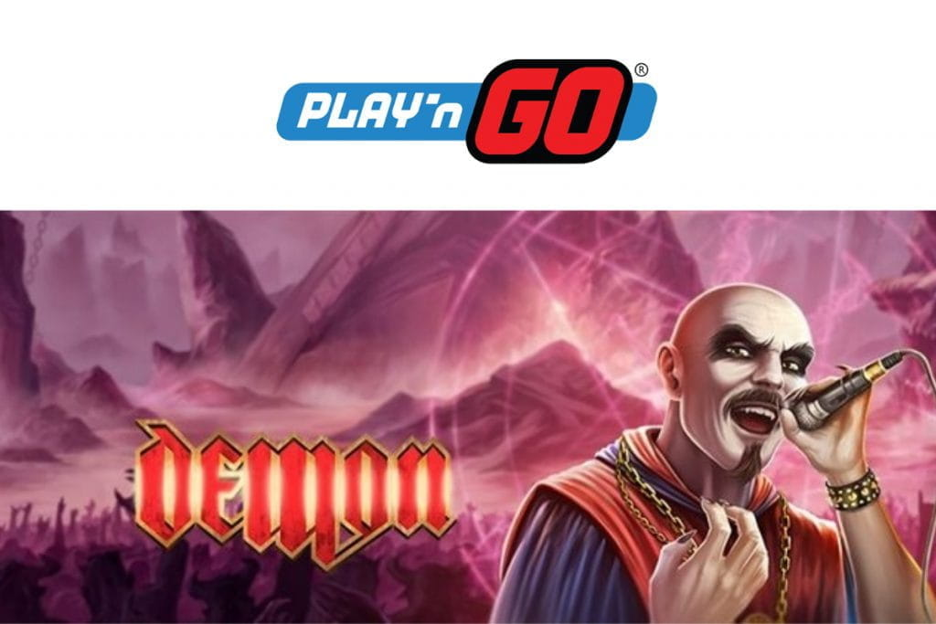The Play'n GO logo above the logo for the Demon slot game.