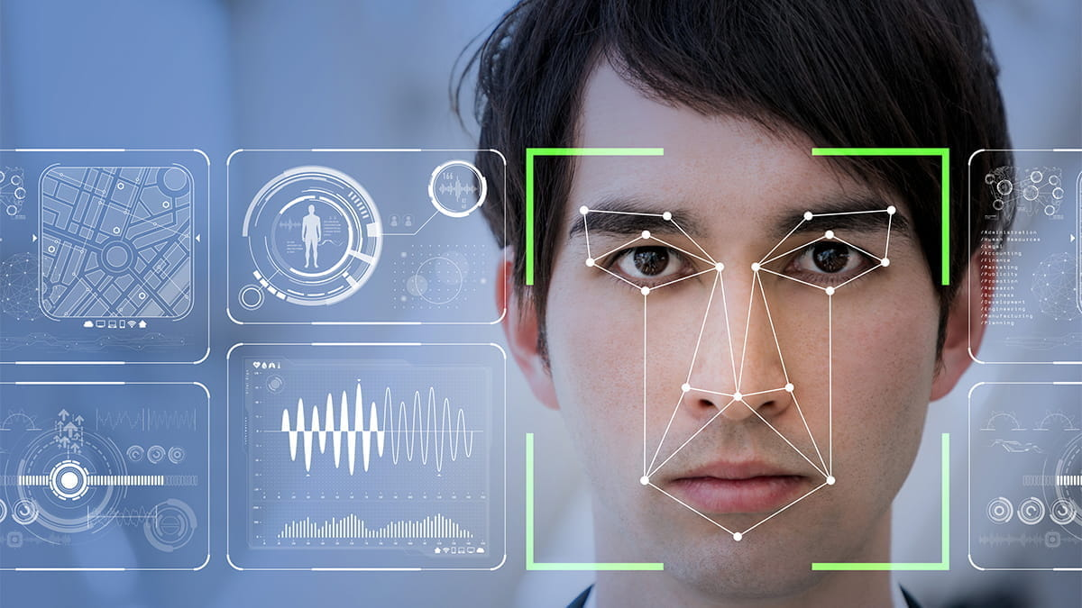 An example of facial geometry mapping which outlines key features of person being scanned.