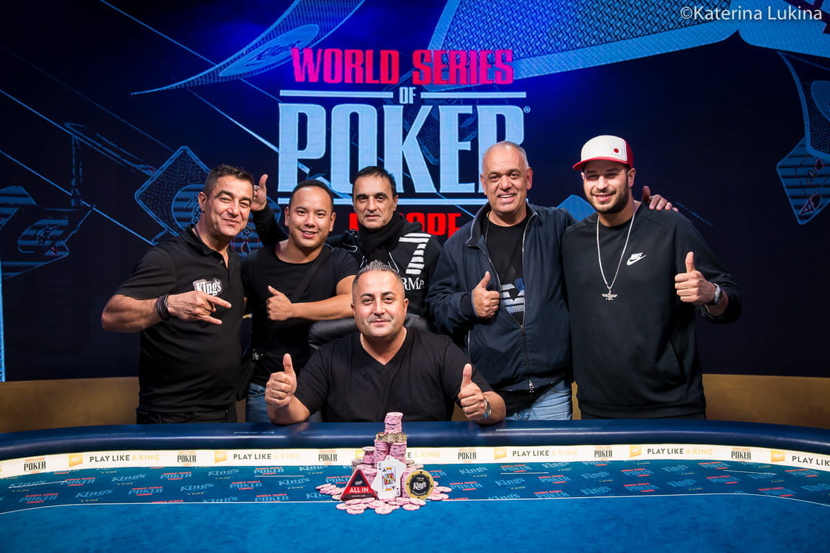 The final table of the tournament made up of seven players including the winner, Siamek Tooran.