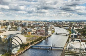 Glasgow city centre and the River Clyde.