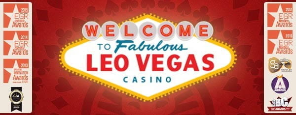 "A sign in the same style as the famous welcome to fabulous Las Vegas sign, with ""Las Vegas"" replaced with ""LeoVegas""."