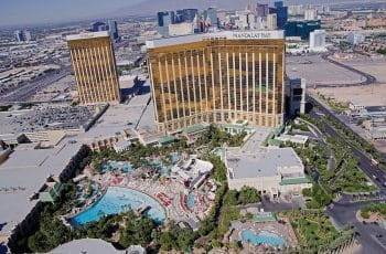 Aerial view of the Mandalay Bay Resort exterior