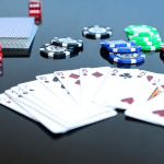 Poker cards and casino chips.