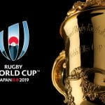 Rugby World Cup logo and trophy.