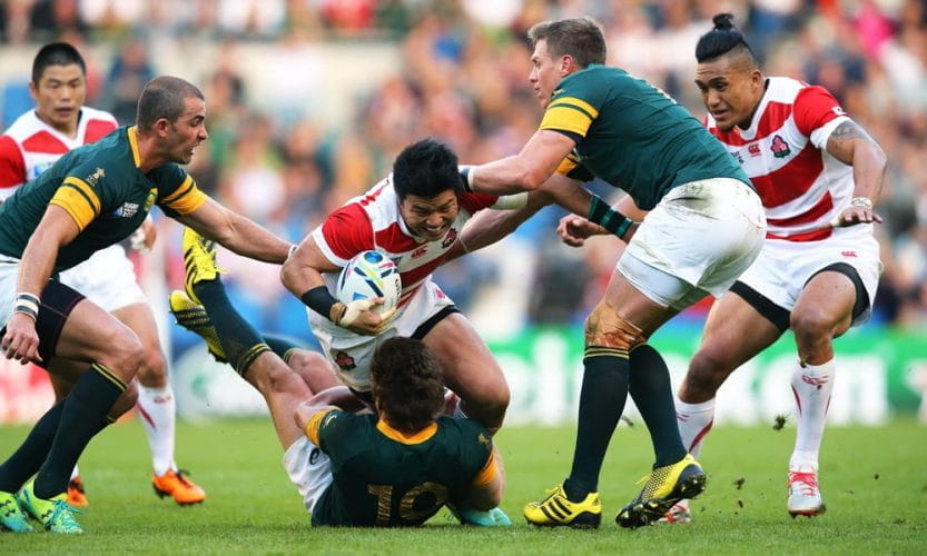 Japan vs South Africa rugby match in 2015.