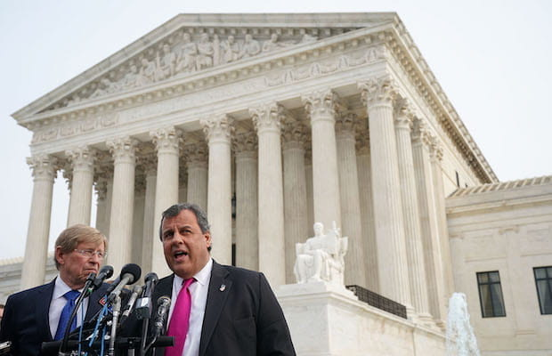 Chris Christie speaks outside of the US Supreme Court.