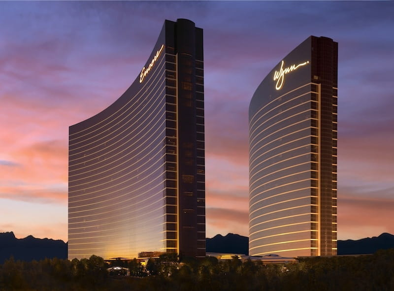 Exterior of Wynn Resorts in Las Vegas at dusk.