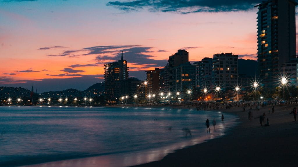 The coastline of Acapulco, Mexico, at sunset.
