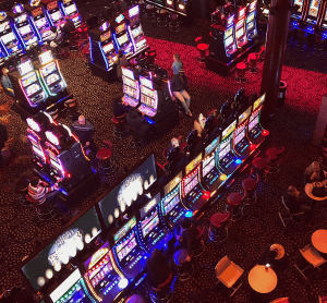 Aerial view of a casino floor.