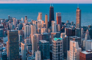 Chicago's city skyline from above.