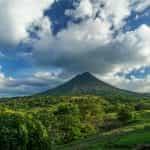 A landscape view of a volcano in Costa Rica.