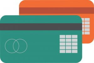 A graphic of two overlaid credit cards, one burnt sienna-colored and the other teal.