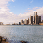 Detroit skyline as seen from the water.