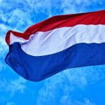 Dutch flag blowing in the wind.