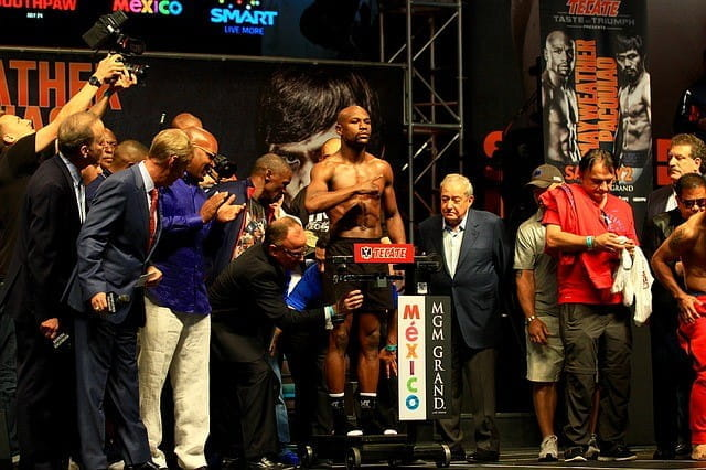 Floyd Mayweather Jr. at a weigh-in.