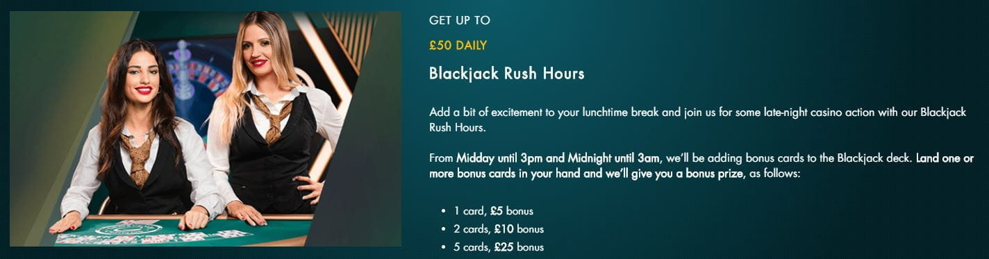 Blackjack Rush Hours lunchtime cards offer from Grosvenor.