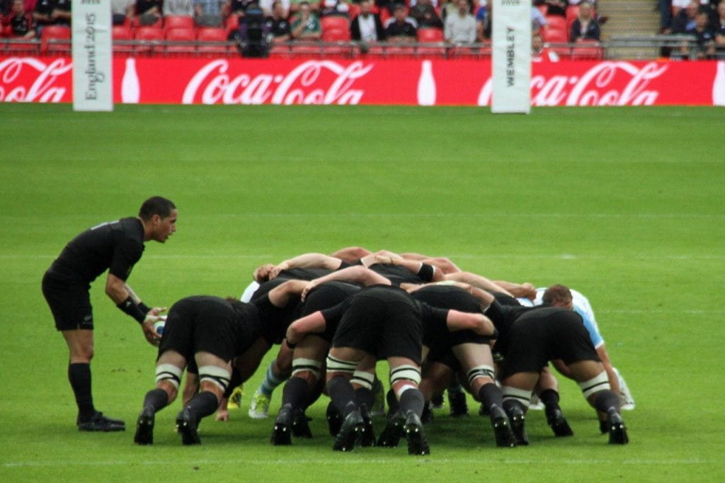 The New Zealand rugby team scrum.
