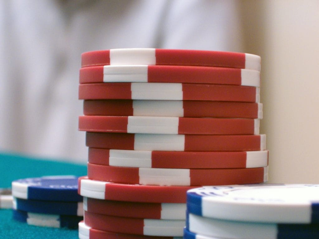 Three stacks of poker chips.