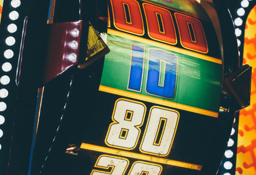 A colorful reel of a slot machine.