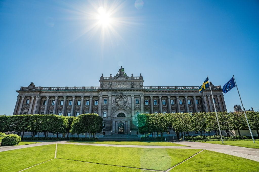 Parliament building in Stockholm, Sweden.