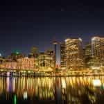 The Sydney harbor at nighttime.