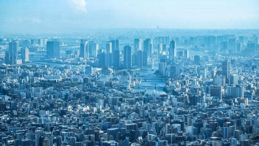 The skyline of central Tokyo.