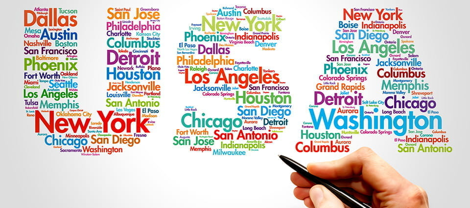 A word cloud of USA made up of US cities.