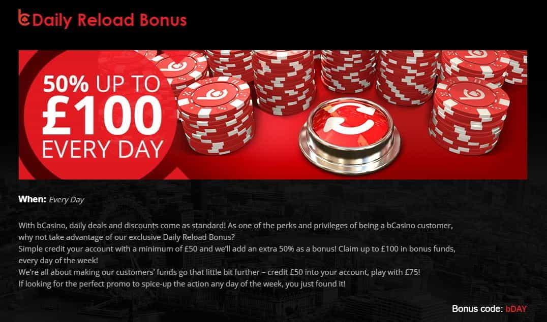 The daily reload bonus at bCasino.
