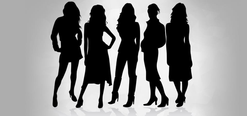The silhouettes of five women.